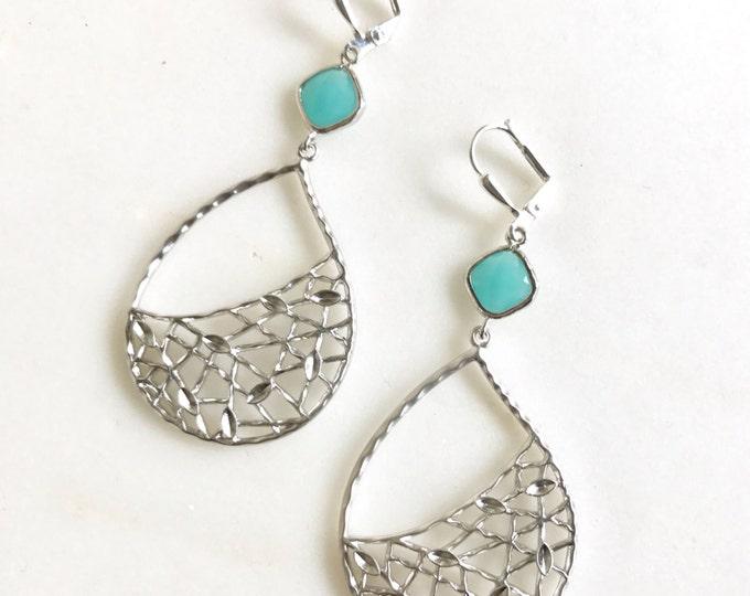 Turquoise Chandelier Earrings.  Dangle Earrings.  Statement Earrings. Jewelry Gift. Modern Fashion Drop Earrings. Chandelier Earrings Gift.