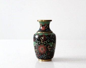 SALE vintage Chinese cloisonné vase, small black floral brass enamel vase