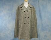 Vintage 1970s 1980s Tweed Wool Cape, Medium Large 8 10 12 14