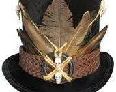 Tall Black Top Hat Witch Doctor Voodoo Skull Gothic Steampunk Victorian Gentleman Mens