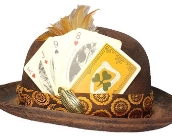 Brown Bowler Derby Hat High Card Steampunk Card Shark Gypsy Gentlemens Dapper Cosplay Mens