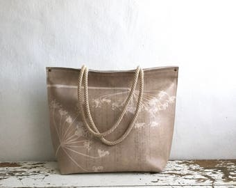 Leather Tote in Queen Anne Lace/Cowslip/ Print - Taupe Beige - Made to Order