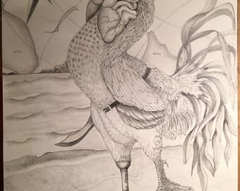 """Rooster Illustration - """"Cocky Pirate"""""""