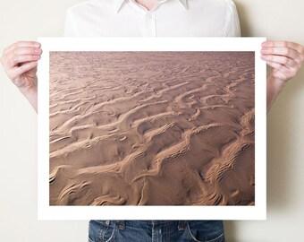 Abstract beach art, sand photography print. Beach scene photograph, Northumberland coastal decor. Affordable art, mauve. Photo by Tom Bland