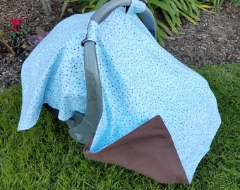 Car Seat Cover - Blue and Brown Polka Dots