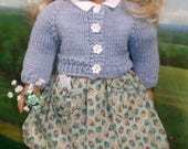 1940s 1950s Dress and Blue Cardigan for 18 inch Girls like Molly, Maryellen
