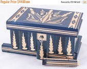 Puzzle  Box Painted Carved Jewelry Box Case Wood Comes With Key, Inside Lock (Blue)