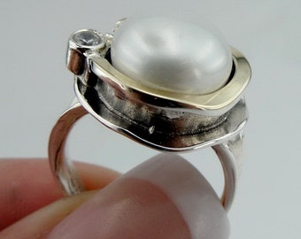 Hadar Jewelry Handcrafted Israel Art Sterling Silver Pearl Ring gold  zircon ,gift , size 7 (958r)