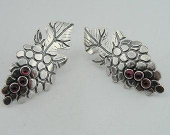 Hadar Fine Sterling Silver 925   ,earrings with garnet stones  ,gift ,   (31606es)