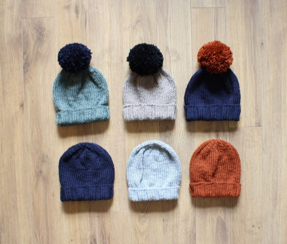 Mix and Match Pompom Beanie in Merino Wool, custom color combination