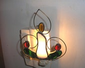 LT Stained glass white Christmas candle night light, christmas decoration lamp, holly and berries, hand made in the USA, accent lighting