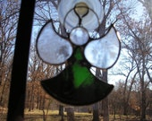 LT Stained glass, green, Angel, sun catcher, ornament, light catcher, dark olive green, my hand made in the USA, window ornament, unique art
