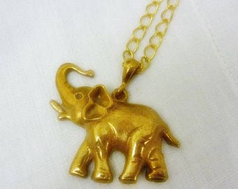 Vintage Bohemian Brass Elephant Necklace,Boho Elephant Necklace full of Detail long Gold link Necklace