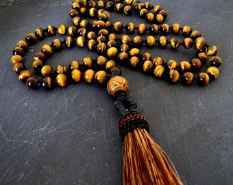 Mala Beads Mala Necklace Tassel Necklace Tiger's Eye Mala Yoga Necklace Healing Mala Grounding Mala Yoga Mala Prayer Beads Japa Mala Chakra