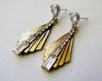 Art Deco Earrings Vintage 1920's Earrings Rhinestone Earrings Shield Earrings Art Deco Jewelry Fashion Trend Jewelry Flapper Earrings Deco