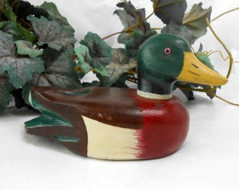 Vintage carved duck decoy green head mallard duck decoy carved hand painted duck figurine signed and dated 1984
