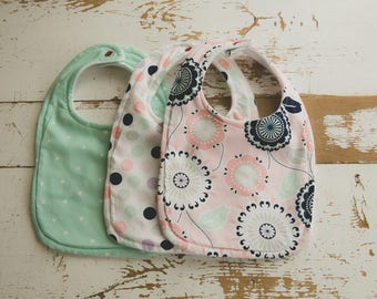 Floral, Dot and Triangle Bib Set, Mint Green, Light Pink, Lavender, Baby Bibs, Baby Girl Bibs
