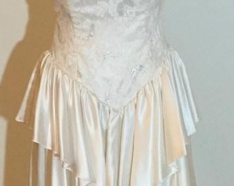 Beautiful White Satin Peplum 80's-90's Vintage Party Dress moving sale