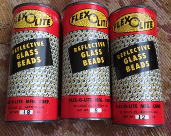 3 Vintage Cans Of Flex O Lite Reflective Glass Beads Get Crafty