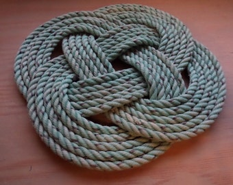 Rope Trivet 9 Inch Knotted Woven Nautical Green Rope Pot Holder Great Unique Gift