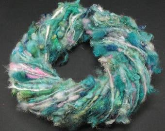 Handspun art yarn Wensleydale  locks and more , 5.4 oz, 54 yards