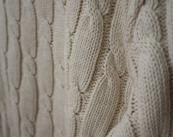 Vintage 70s/80s Cable Knit Cream Sweater S