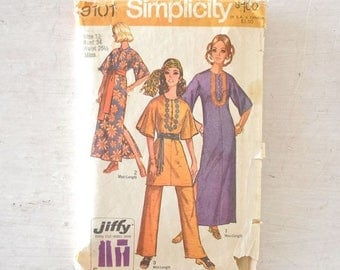 15% OFF Caftan Sewing Patterns 1970s Vintage Tunic Maxi Dress Top Pants Set Simplicity 9101 34 Bust