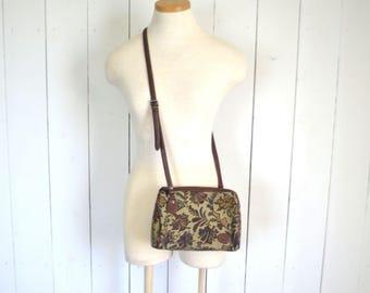 Cross Body Bag - Early 90s Tapestry Bag - Beige Floral Print HandBag - Vintage Skinny Strap Shoulder Purse