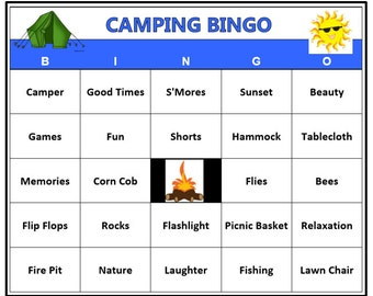 Camping Bingo Game 120 Unique Cards Outdoors Theme Words Very Fun