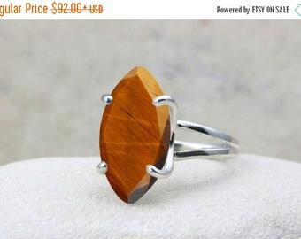 SUMMER SALE - Tiger eye ring,marquise ring,silver ring,cocktail ring,statement ring,large ring,wow ring,silver prong ring