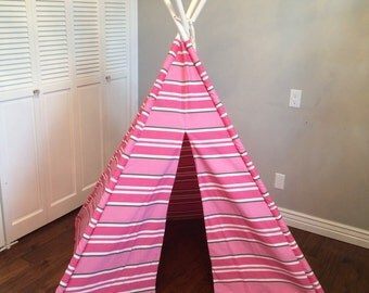 Pink, Gray and White, Geometric, Striped, Stripe, Play Teepee, Tee Pee, Tent (poles included)