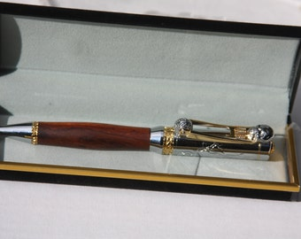 "Cocobolo ""Motorcycle"" Twist Pen with Chrome finish, Chopper Style with springer front end clip."