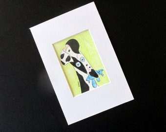 """Greyhound galgo original watercolour ACEO in white mount """"Naughty Spots"""" silly old greyhound ready to frame 4"""" x 6"""""""