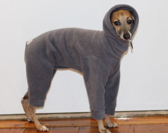 ONE Only - Extra Small standard Grey Snood Snowsuit / Jammies  for Italian Greyhounds see measurements before purchase