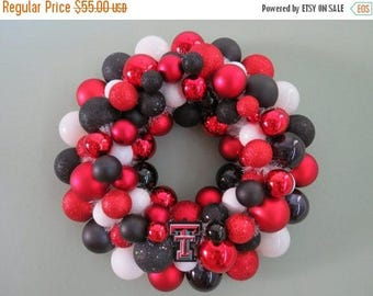 On SALE TEXAS TECH Red Raiders Ornament Wreath Football Shatterproof wreath