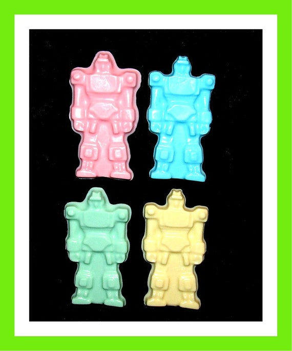 24 Robot Soap Favors,Birthday Party Favors,Baby Shower Favors,Personalized Button Pin,Boys Birthday Favors,Girl Birthday Favors,Kid Soap