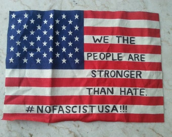 WE THE PEOPLE American Flag Punk Patch, Antifa, Handmade, Red White and Blue, Patriotic