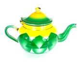 RESERVED FOR Rastkid ~~~ Decorator Enamel Teapot Green and Yellow Vintage Mid Century Modern Kitsch