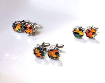 Set of 3 Real Moth Cufflinks, Madagascan Sunset Moth, Groomsmen Cufflinks, Groom Wedding