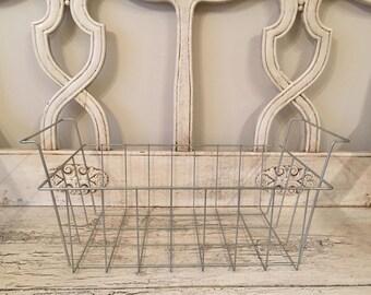 Vintage Industrial Wire Storage Grocery Basket