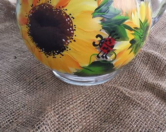 Hand painted glass pitcher in sunflower and ladybug design, sunflower pitcher, hand painted glass pitcher with ladybugs
