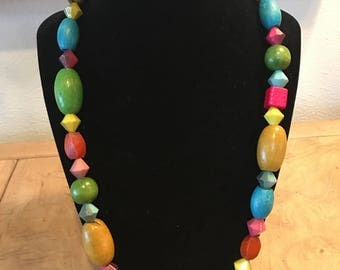 "Bright Color Wood Shape 23"" inch Necklace"