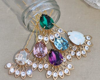 NEW Multi Colored Swarovski Crystal Hair Fork,Choose Your Color,Golden Bridal Hair Stick,Swarovski Rhinestone Crystal,Jeweled Hair Pin,Gift