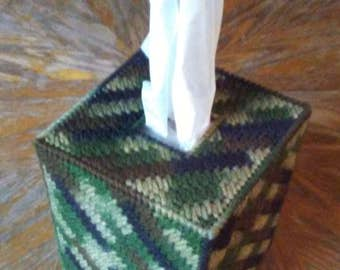 Camouflage Plastic Canvas Tissue Box Cover