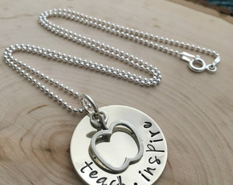 Teacher Necklace ~ Hand Stamped Necklace ~ JessicaBe ~ Teach ~ Inspire ~ Teacher Gift ~ Apple Necklace ~ Teacher Apple