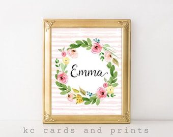 Nursery Floral Print, Emma, Nursey Decor, Baby Girl, Personalized Baby, Nursery Art, Printable, Watercolor, Wall Art, Pink, Digital Print