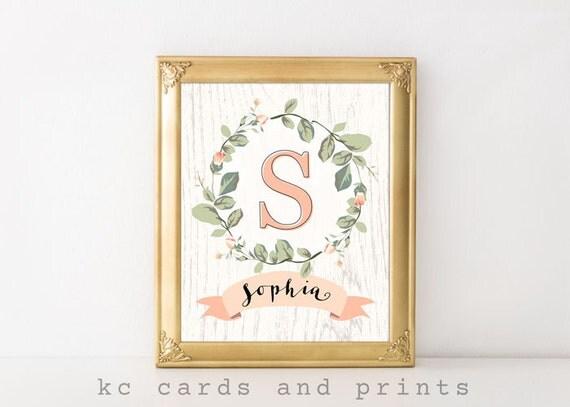 Items similar to Sophia Name Art, Nursery Name Sign ...