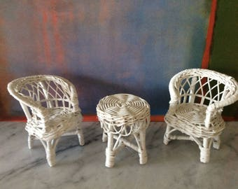Vintage Wicker Doll Furniture 1:6 Scale Perfect for Blythe