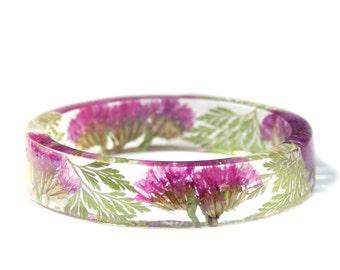 Pink Flower Bracelet - Real Flower Jewelry- Flower Jewelry- Jewelry with Real Flowers- Pink Flowers- Bridesmaid Gifts - Modern Flower Child