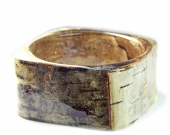 Rustic Birch Bark Bracelet - Real Birch Bark Bangle- Resin Jewelry- Brown Jewelry- Brown Bracelet-Nature Jewelry- White Bracelet
